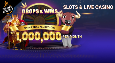 Drops and Wins for Slots and Live Casino